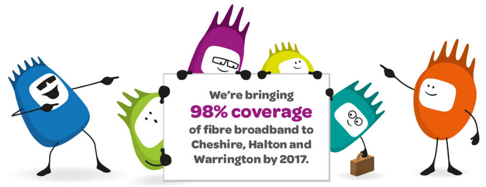 98% coverage of fibre broadband to Cheshire, Halton and Warrington by 2017.